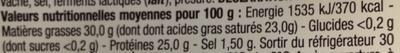Tomme de Savoie - Informations nutritionnelles - fr