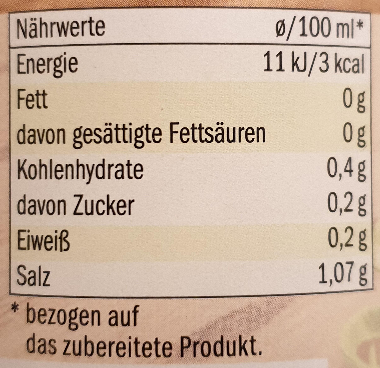 Gemüsebrühe - Informazioni nutrizionali - de