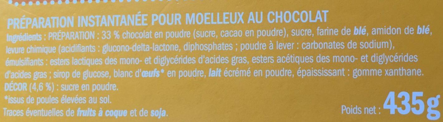 Préparation pour gâteau Moelleux au Chocolat - Ingrediënten - fr