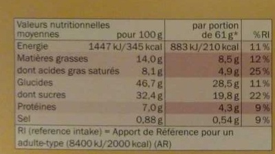 Préparation pour gâteau Moelleux au Chocolat - Nutrition facts