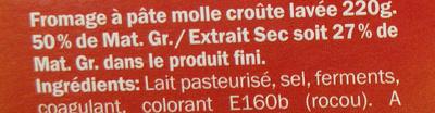 Le fromage doux (27 % MG) - Ingrédients - fr