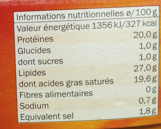 Le fromage doux (27 % MG) - Informations nutritionnelles - fr