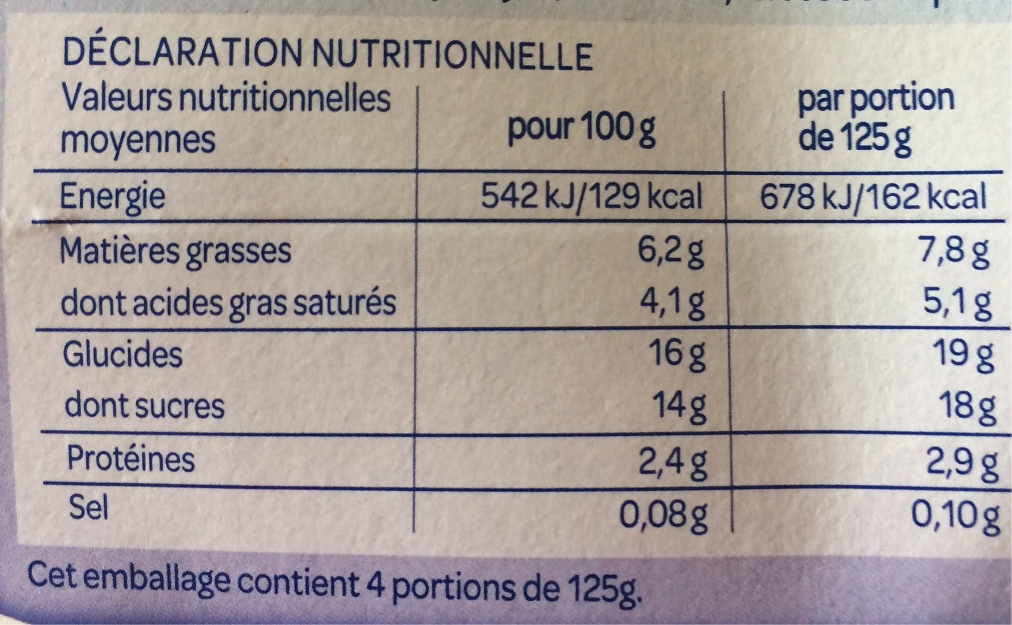 Yaourt à la grecque fraise - Información nutricional