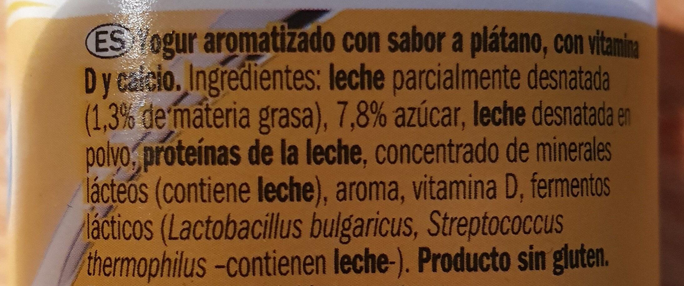 Yogur sabor platano - Ingredients