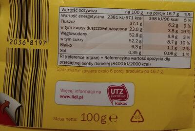 Chocolat blanc - Wartości odżywcze - pl