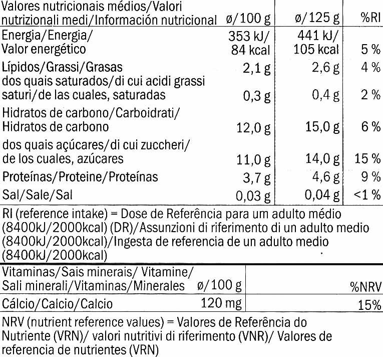 Postre de soja Fresa - Información nutricional - es