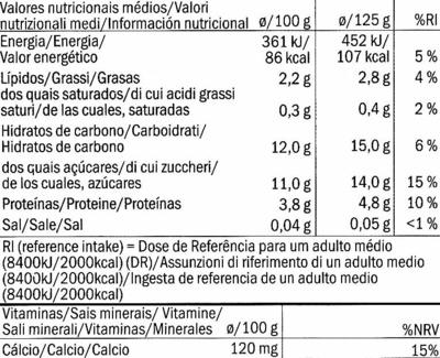 Postre de soja Frutas del bosque - Información nutricional