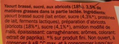 Yaourt Abricots - Ingrédients - fr