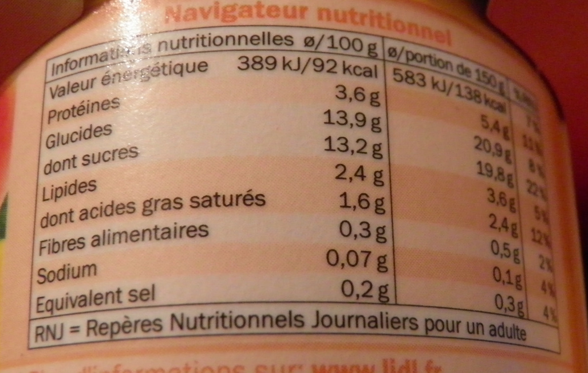 Yaourt Abricots - Informations nutritionnelles - fr