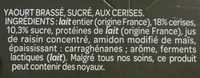 Yaourt Cerises - Ingredientes