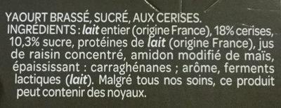 Grand Dessert - Yaourt cerise - Ingredientes - fr