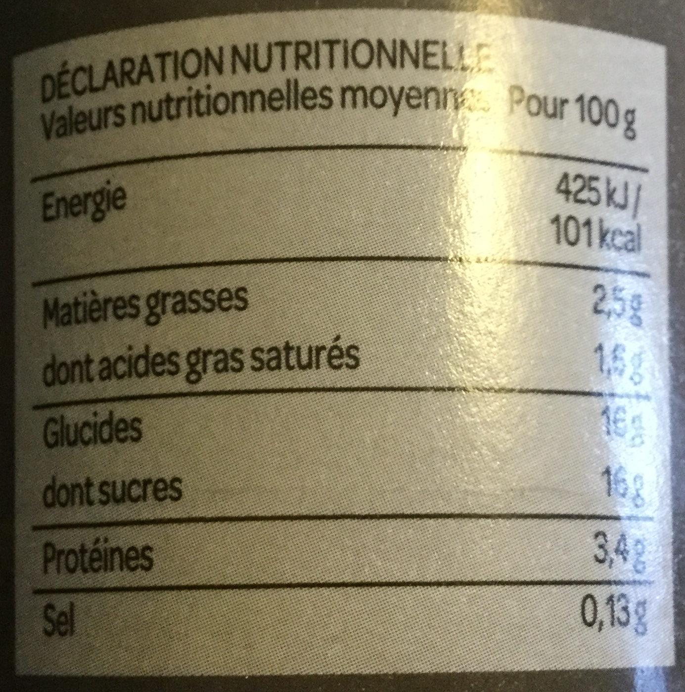 Grand Dessert - Yaourt Cerise - Información nutricional