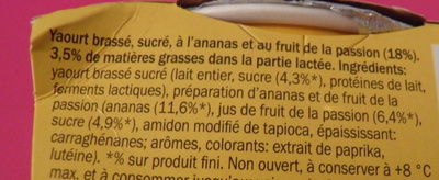 Yaourt Ananas-Passion - Ingrédients - fr