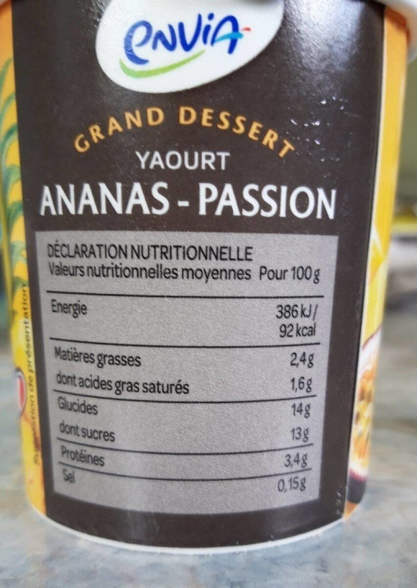 Yaourt ananas passion - Informations nutritionnelles - fr