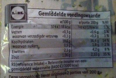 Pdt mini grenailles - Voedingswaarden - nl