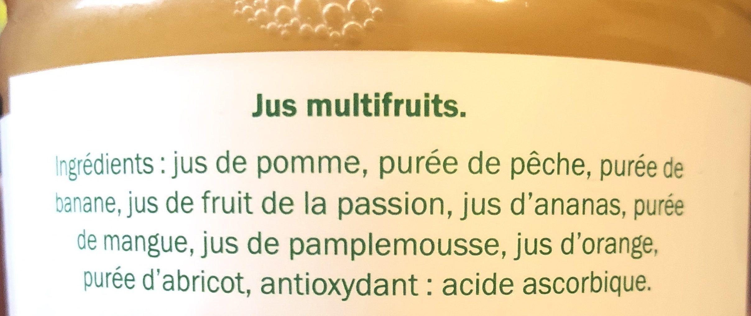 Jus multifruits. Teneur en fruits: 100% - Ingrediënten - fr