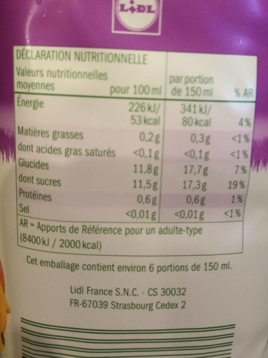 Jus multifruits. Teneur en fruits: 100% - Voedingswaarden - fr