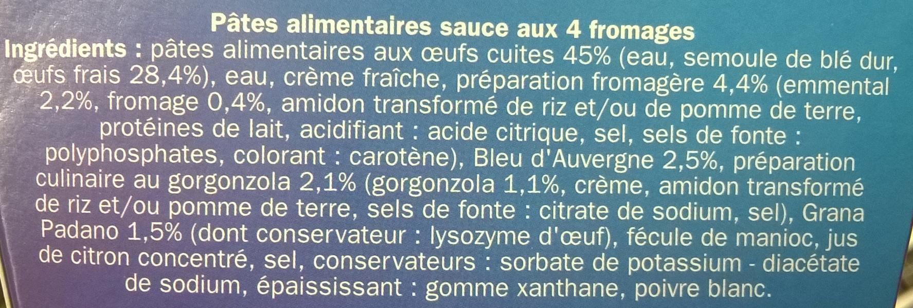 Radiatori aux 4 fromages - Ingrédients - fr