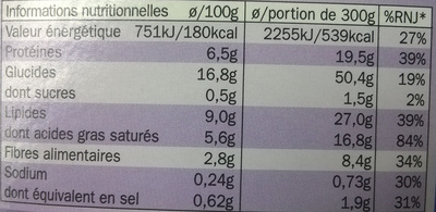 Radiatori aux 4 fromages - Informations nutritionnelles - fr