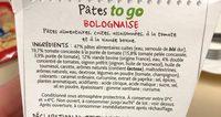 Fusilli à la Bolognaise - Ingrédients