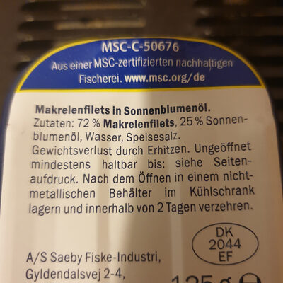 Mackerel Fillets in sunflower oil - Ingredients