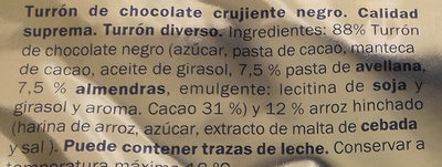 Turrón crujiente negro - Ingredients - es