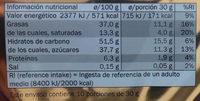 Turrón crujiente negro - Información nutricional - es
