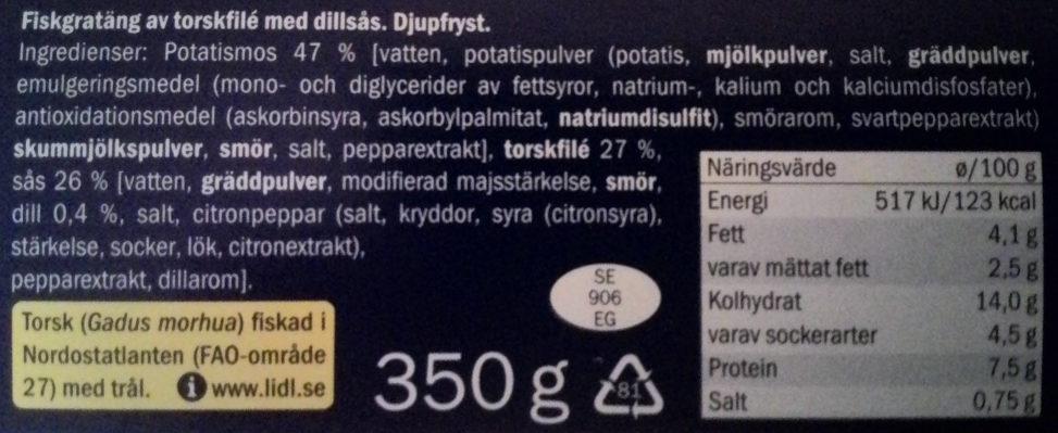 Ocean Sea Fiskgratäng av torskfilé med dillsås - Ingredients