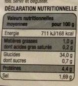 Galettes de blé noir - Informations nutritionnelles