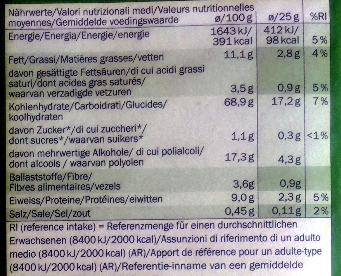 Crowni Haselnuss - Informazioni nutrizionali