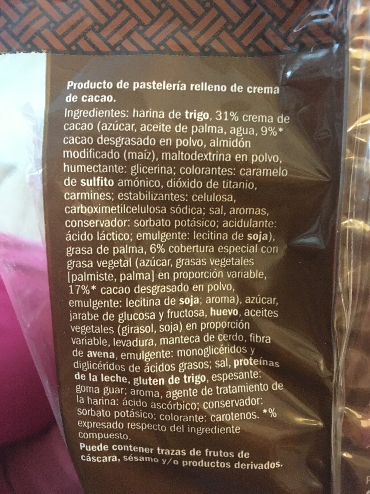 Napolitanas cacao - Ingrediënten - es