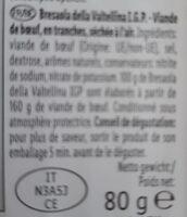 Bresaola della valtellina i.g.p. - Nutrition facts