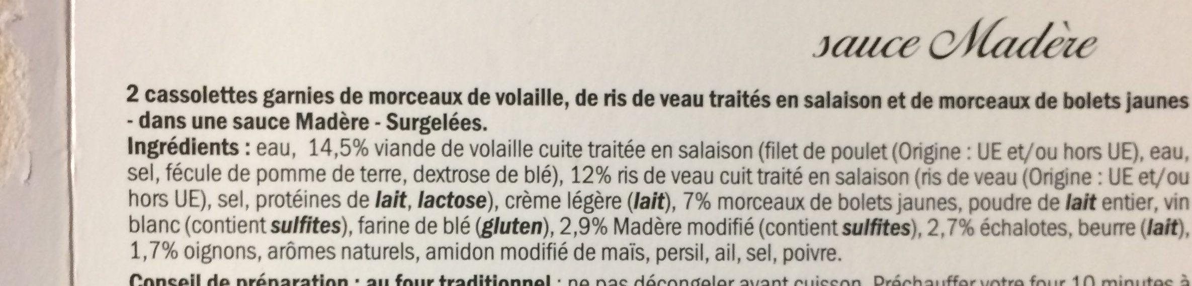 Cassolettes de volaille, ris de veau et bolets - Ingrediënten - fr