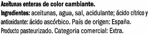 """Aceitunas de color cambiante enteras """"Baresa"""" Variedad Arbequina - Ingredientes"""