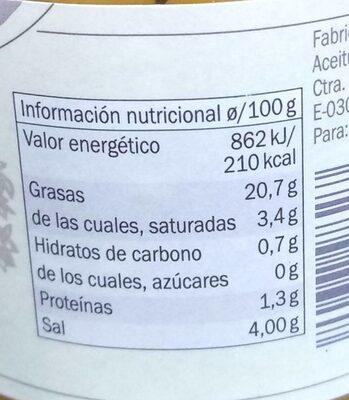Aceitunas arbequinas - Información nutricional - es