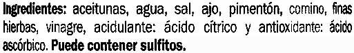 """Aceitunas verdes partidas aliñadas """"Baresa"""" Variedad Obregón - Ingredientes - es"""