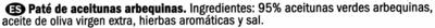 Paté de aceitunas verdes arbequinas - Ingredientes
