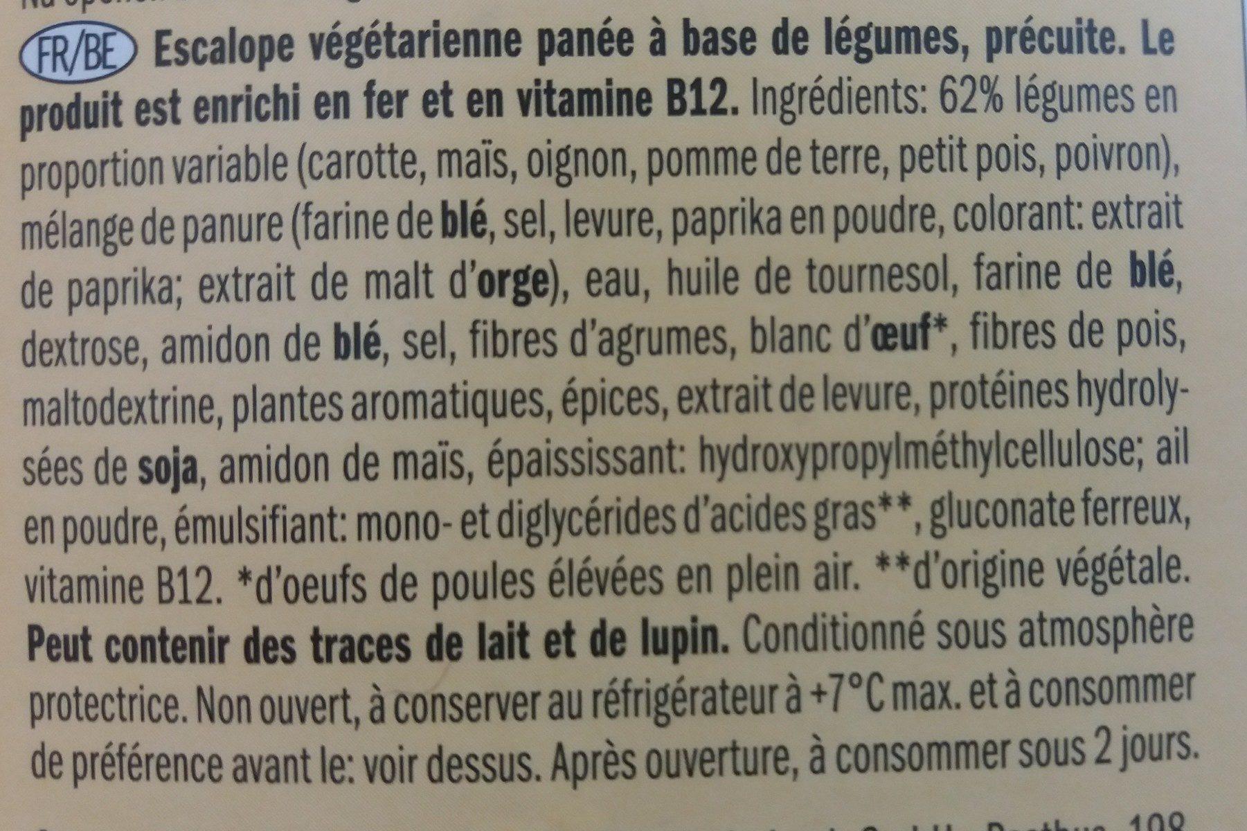 Escalopes de légumes végétarienne - Ingredients