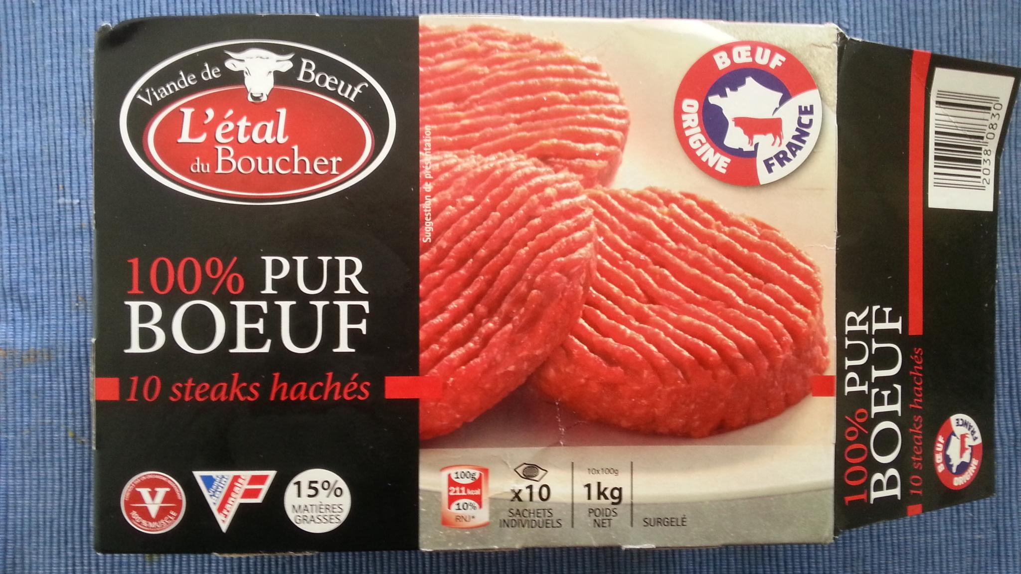 10 steaks hachés 100% pur boeuf 15% MG - Produit
