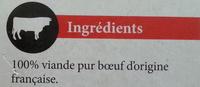 10 steaks hachés 100% pur boeuf 15% MG - Ingrédients