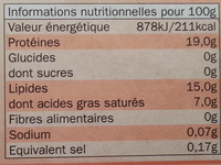 10 steaks hachés 100% pur boeuf 15% MG - Informations nutritionnelles