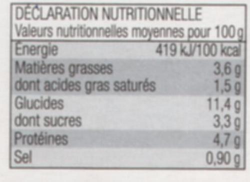 Lasagne à la Bolognaise à l'huile d'olive vierge extra (0,2%) - Informació nutricional