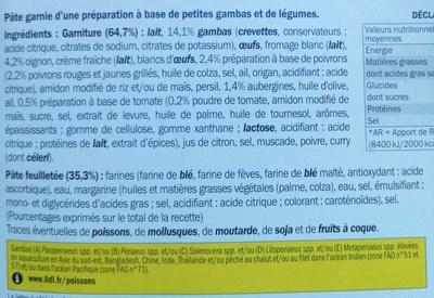 Tarte aux petites gambas & légumes - Ingrédients - fr