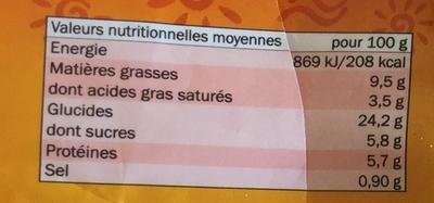 Caprichos de queso azul - Informations nutritionnelles - es