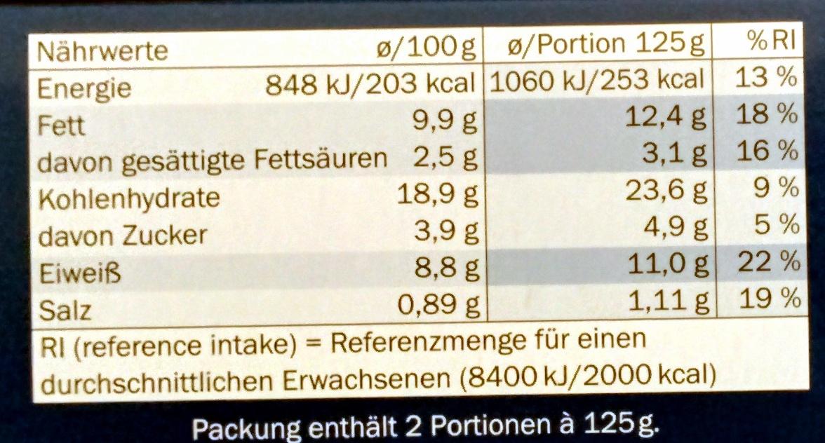 Schollenfilet Spinat & Feta - Nutrition facts