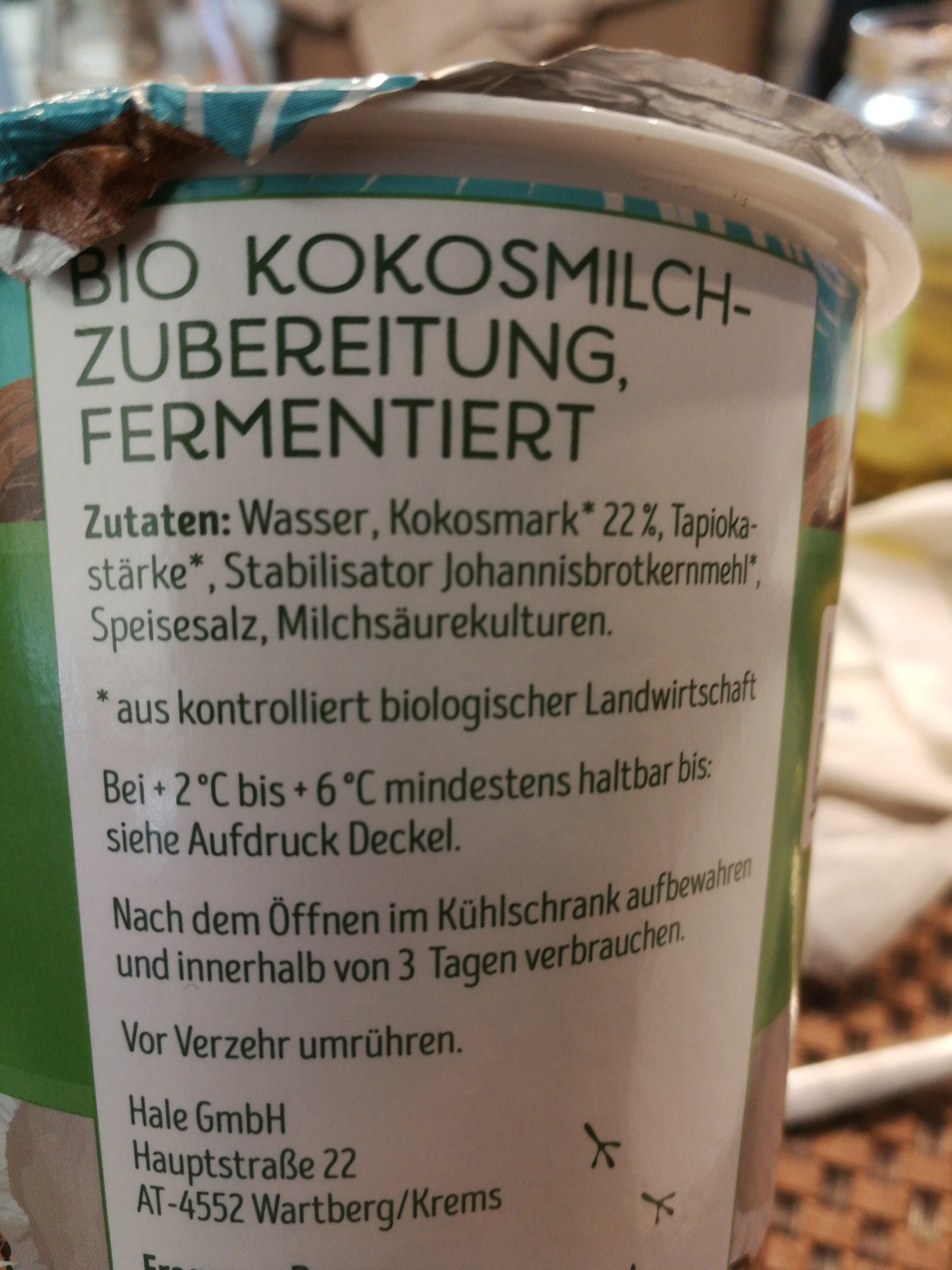 Bio Kokosmilchzubeteitung, fermentiert - Zutaten - de