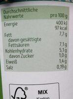 Bio Kokosmilchzubeteitung, fermentiert - Nährwertangaben - de