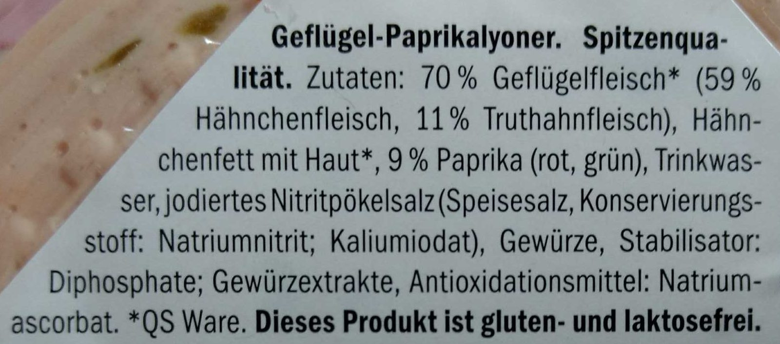 Geflügel Paprikalyoner - Zutaten - de