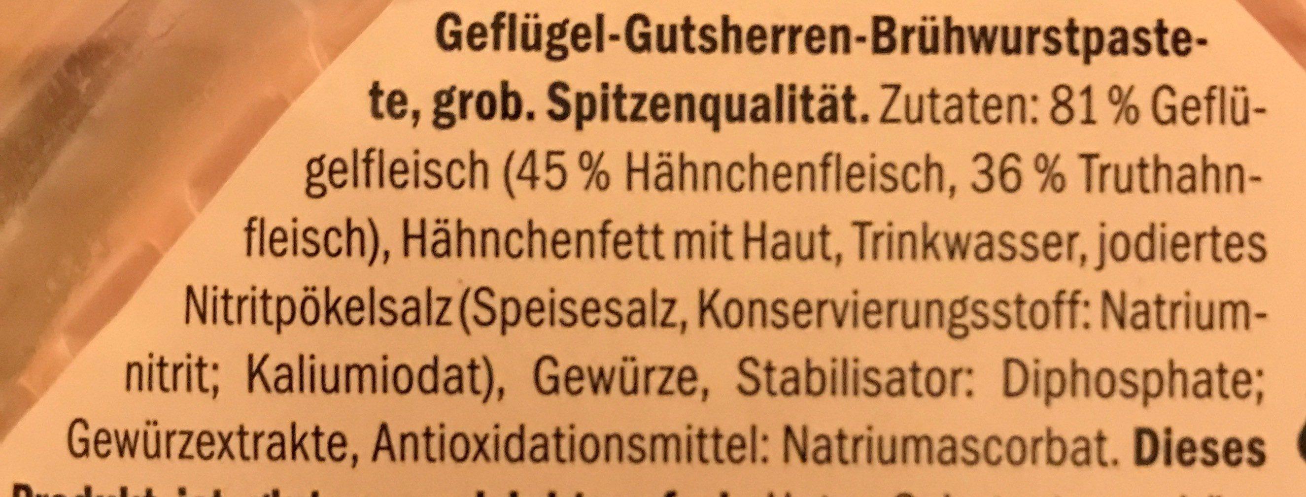Geflügel-Gutsherrenbrühwurstpastete, grob - Ingrédients - fr