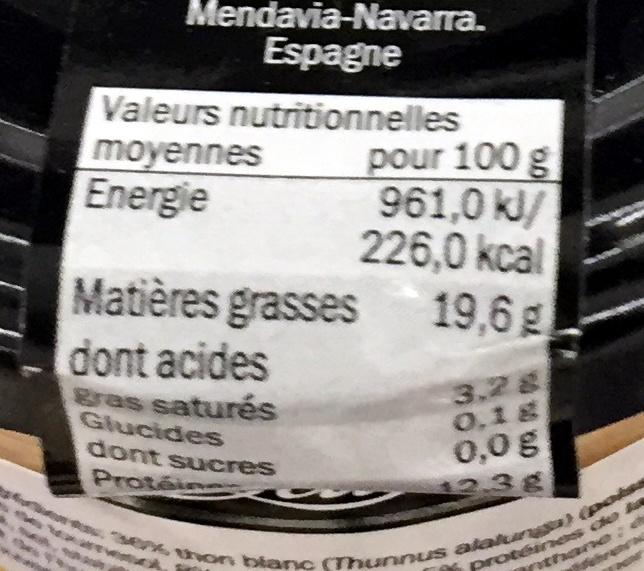 Mousse de thon blanc - Informations nutritionnelles